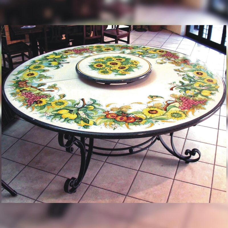 Round lava stone table with raised central