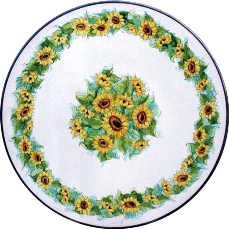 lava stone table with hand painted sunflowers decoration