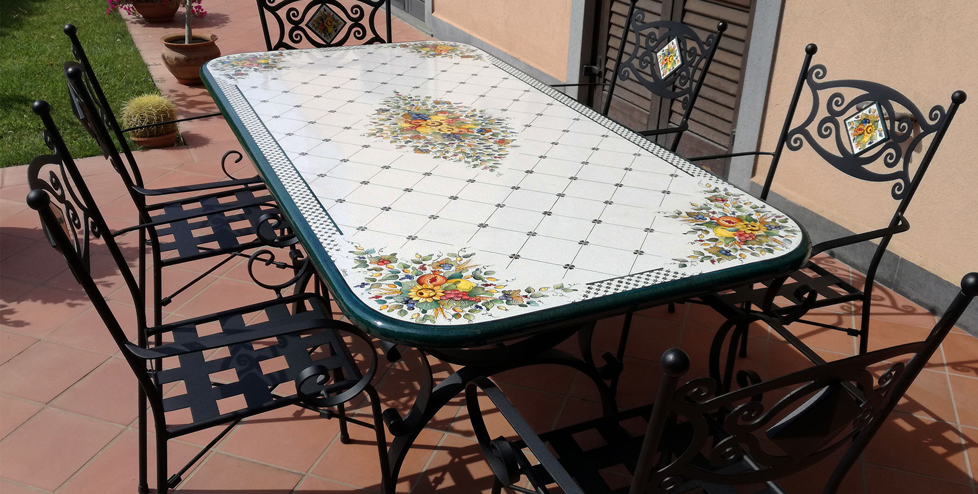 hand-decorated rectangular lava stone garden table