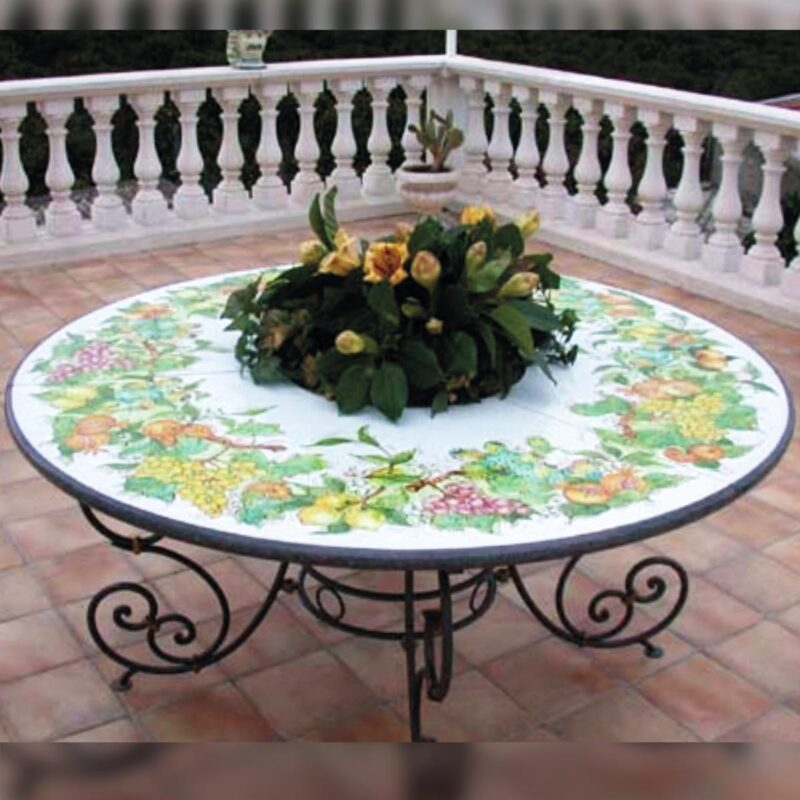 Etna lava stone table decorated by hand
