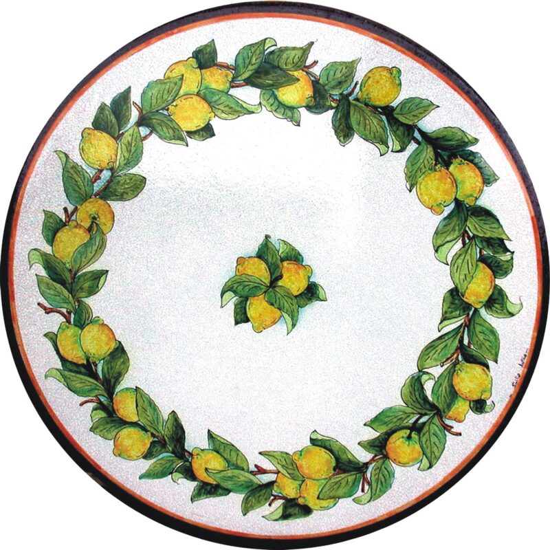 lava stone table with lemons decoration