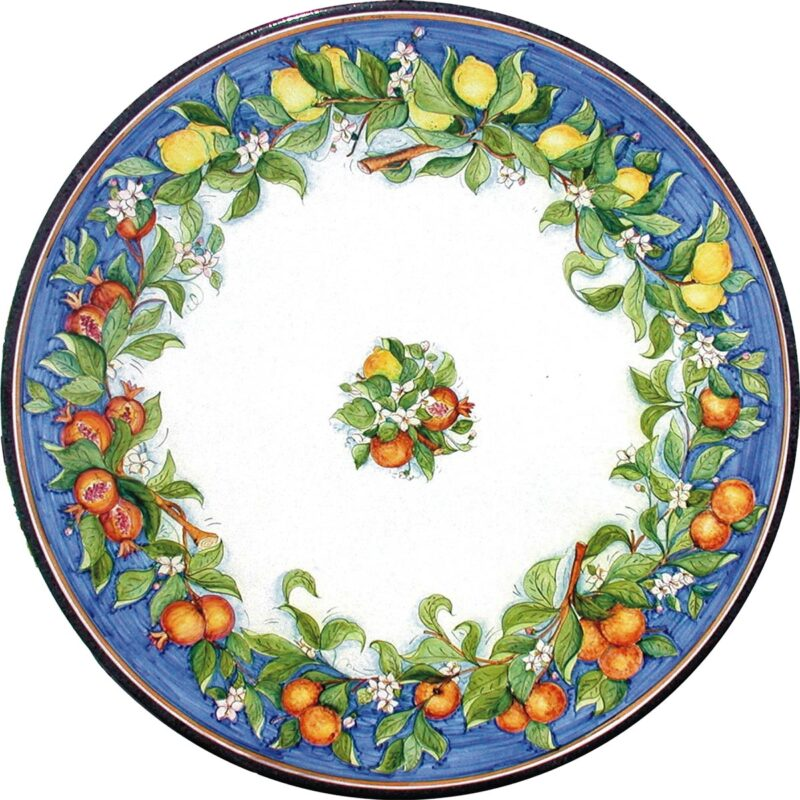 table in round lava stone with mixed fruit decoration antique blue color