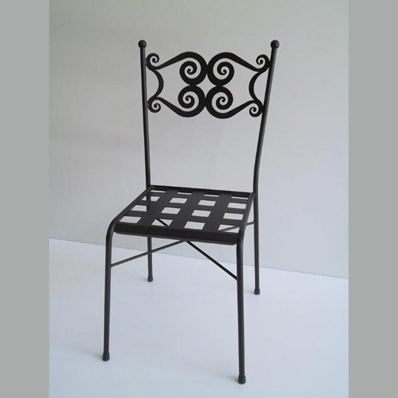 Wrought iron chair for outdoor use